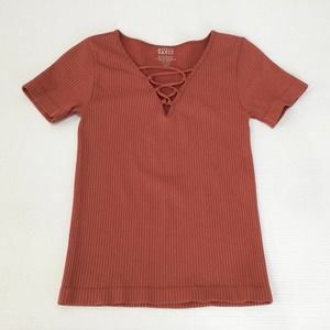 ACTIVE BASIC Ribbed Stretch Top S Pumpkin Coral